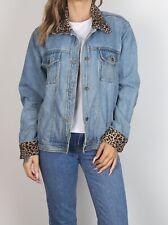 Denim Jacket UK 14 Large Vintage Light Mid Wash Leopard Print  (43E)