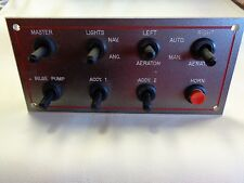 """TOGGLE SWITCH PANEL W / HORN RED / GRAY PLASTIC 6 1/2"""" X 3"""" MARINE BOAT"""