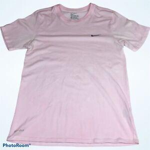 Nike Women's Small T-Shirt Dri Fit Athletic Cut Pink Short Sleeve Long Damaged
