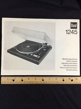 "Dual 1245 Turntable ""Original"" Owners Manual 31 Pages of combined languages"