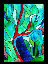 ABSTRACT BARRIER REEF Stained Glass LEADLIGHT FRONT DOOR / WINDOW Hand Crafted