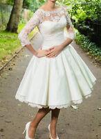 New White/Ivory Short Lace Wedding Dress Bridal Gowns Size 6-8-10-12-14-16-18+++