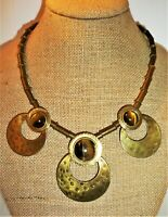 Unique Vintage Hand Made Couture Chunky Modernist Tiger's Eye Brass Bib Necklace