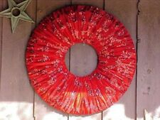 "Christmas Wreath Red Velour Velvet Red Sequins Glitter Scattered 30"" Diameter"