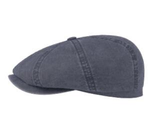 STETSON Hatteras Organic Cotton 59cm Flat Cap 7 3/8 8/4 Newsboy Gatsby Blue