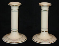 DISCONTINUED LENOX CHINA CHARLESTON PATTERN PAIR OF CANDLESTICKS NEW