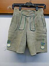 Vintage 1960's Lederhosen Suede Leather Short Trachten Grey edelweiss green pipe
