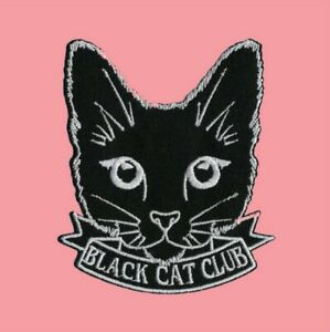 Black Cat Club Easy Iron On Patch witch spooky kitten Goth Emo crazy lover gift