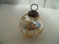Ancienne boule de Noel en Verre Soufflé Mercurisé Ø 6,5cm