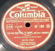 Edith Piaf Les amants de Paris & T'as pas profité de ta chance 78 RPM 10''  EX