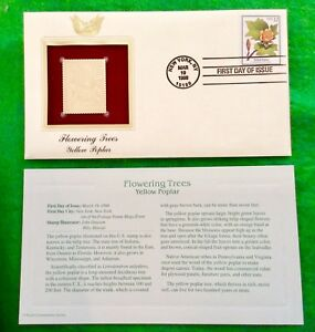 """""""Flowering Trees"""" Yellow Poplar  First Day Issue 22k Gold Foil FDC"""