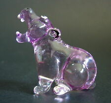 Glass HIPPOPOTAMUS Water HIPPO Purple Glass Ornament Tinted Glass Animal Gift