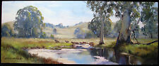 Gerard Mutsaers original oil titled 'Cattle crossing the Creek'  Australia