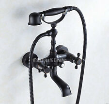 Oil Rubbed Bronze Clawfoot Wall Mount Bathtub Shower Faucet Set Valve Tap B19O-A