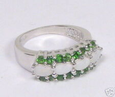 Genuine Chrome Diopside & Opal Ring Size 7.25         CD1