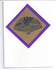 Card Blank Handmade Japanese Fan Purple