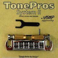 TonePros AVT2G-N Cordier-Chevalet Warparound Bridge Fits PRS, Gibson LP Nickel
