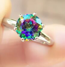 2ct Natural VS Mystic Green Topaz Solitaire Ring Solid 14K White Gold Engagement
