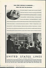 1930 United States Lines advertisement, LEVIATHAN on-board stock market