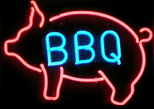 """New Pig Bbq Open Left Beer Bar Neon Light Sign 24""""x20"""" Real Glass"""