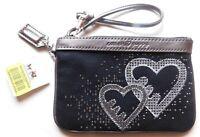 Coach Poppy Silver Black Heart Wristlet 44856 Brand New