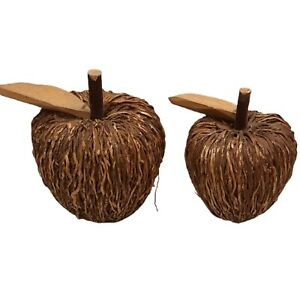 Handcrafted Pair of Apples Fruit Wood Twig Country Farmhouse Home Décor