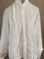 Vintage SARIN New York 100% Cotton Peasant Blouse - White - M