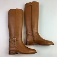 Tory Burch women boots Brown Leather Riding knee high buckle Brooke —7M —New