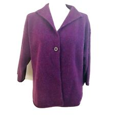 Eileen Fisher Womens Sweater Cardigan Wool Cashmere Purple One front button PL