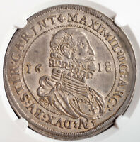 1618, Teutonic Knights, Maximilian III. Large Silver Thaler Coin. NGC AU-53!