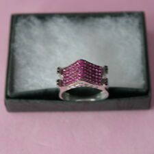Beautiful Silver Ring With Turkish Ruby And Onyx 3.6 Gr. 2.2 x 1 Cm. Wide Size O