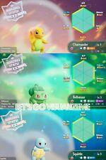 Pokemon Let's Go Pikachu & Eevee Shiny Charmander Squirtle Bulbasaur 6IV/Max/AV