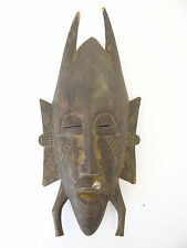 Antique Old Carved Wood African Horned Ceremonial Facemask Mask Africa Carving