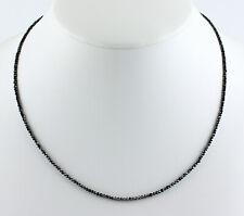 Diamant Kette Edelsteinkette Schwarze Facettierte Top Qualität Collier Edel 45cm