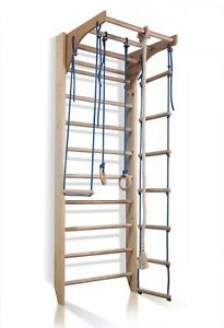 Wooden Climbing Wall Bars With Ropes Ladder Swing Gym Gymnastics Fitness Kids