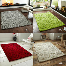 VALENTINE 100% HAND TUFTED WOOL HAND CARVED 3D EFFECT THICK CHUNKY RUG FLORAL