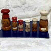 Vintage Anthropomorphic Painted Wood SALT & PEPPER SHAKERS Set of 6 NEVER USED