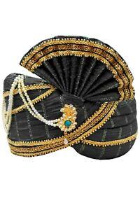 MPG7001 Black and Gold Indian Turban, Wedding Pagri, Safa, Bollywood Hat