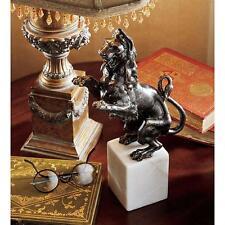European Heraldic Foundry Iron Lion on White Marble Base Statue