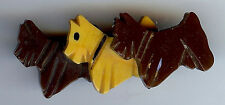 VINTAGE CARVED BAKELITE THREE BROWN AND BUTTERSCOTCH SCOTTY DOGS PIN