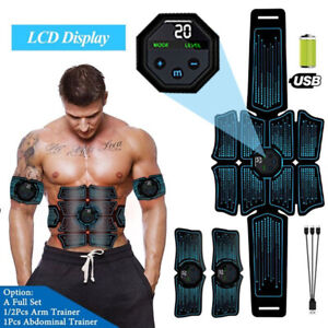 LCD EMS Abdominal Muscle Toning Trainer ABS Stimulator Toner Fitness Gym 8 Pads