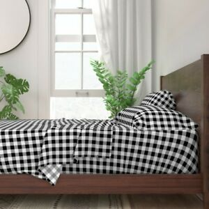 Black + White Gingham And Check Plaid 100% Cotton Sateen Sheet Set by Roostery