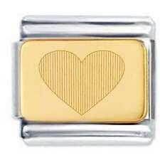 18k GOLD LOVE HEART Engraved Italian charm LA Cima Charm Fits Nomination Classic