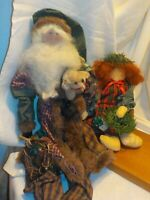 2 Christmas Shelf Sitter folk art Patchwork Santa & Girl  handmade Cloth Dolls