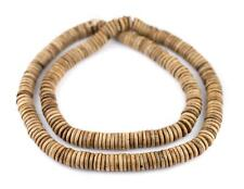 Brown Bone Button Beads 10mm Nepal Disk Large Hole 24 Inch Strand