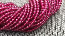 100% Natural 2mm Faceted Dard Red Garnet Gems Round Loose Beads 15.5""