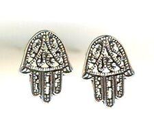 "925 Sterling Silver Hand of Fatima Hamsa Stud Earrings Filigree Length 1/2"""