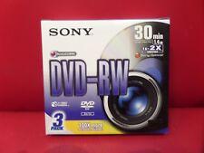 SONY DVD-RW MINI DISC 1.4GB 30MIN - SET OF 3 - 8CM - 1X/2X AccuCore