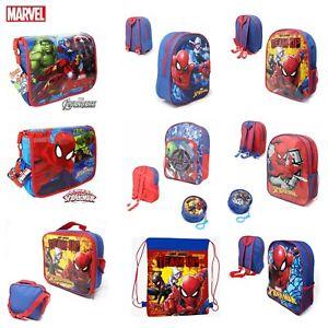 Kids Boys MARVEL SPIDERMAN AVENGERS School Backpack Lunch Box Pencil Book Bag