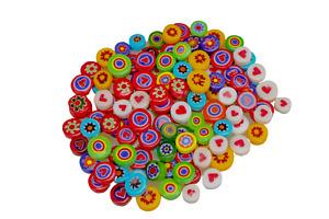 Glass Flower Beads Glass Mosaics Tiles Decorative DIY Crafts Perforated 50pcs